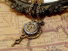 Victorian Steampunk Necklace - Steampunk Jewelry - Gears & Key Charm - Assemblage Jewelry #steampunk #steampunkjewelry