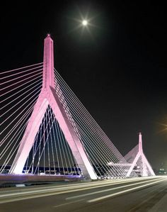 Zakim Bridge Illuminated in Pink for The Breast Cancer Research Foundation® Founder Evelyn H. Lauder