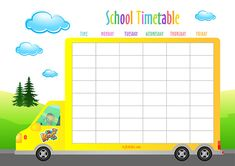FREE School Timetable and Weekly Planner. Timetable Planner, Timetable Template, School Timetable, Preschool Bulletin, Preschool Writing, Preschool Learning, Preschool Activities, Kids Planner, Weekly Planner