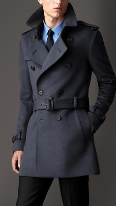 Burberry London S/S14 Mid-Length Virgin Wool Cashmere Trench Coat