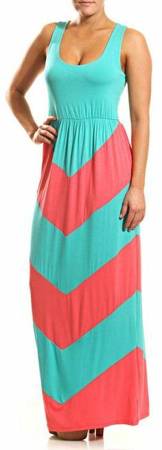 Aqua + Coral Maxi Dress