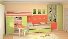 """Компактная мебель для детской комнаты """"Силуэт"""" для двоих детей (Комбинация 4) - купить на Rumpa.ru"""