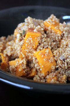Warm Sweet Potato and Quinoa Salad...made it tonight & it is great!  The added honey is fantastic