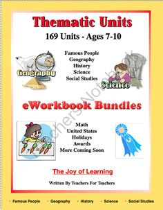 "Bundles and Units Titles and Links from Joy of Learning on TeachersNotebook.com -  (56 pages)  - This file contains a list of the ""Joy of Learning"" eWorkbook titles. Links are given for each title for easy access.  There are 169 Thematic Units and several eWorkbook Bundles.  Two free Thematic Units, ""Owls, and The Earth"" are on this file.  Samples of  Check out www.NYHomeschool.com as well. State Holidays, Classroom Activities, Classroom Ideas, Teacher Notebook, Thematic Units, Eighth Grade, School Lessons, Easy Access, Social Studies"