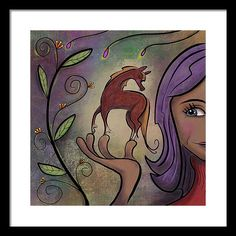 Pony Framed Print featuring the painting That Pony's A Hnadfull by Marti McGinnis