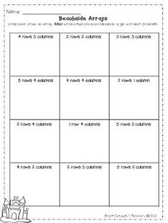 math worksheet : multiplication using arrays worksheets  multiplication  : Math Arrays Worksheets