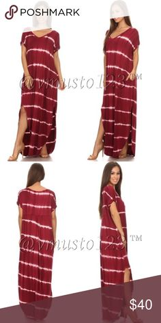 COMING SOON!!! OVERSIZED TIE DYE MAXI DRESS This gorgeous oversized maxi dress is roomy, soft and so on trend. Gorgeous burgundy color with white tie dye print. Has functional pockets! Tie-dye striped maxi dress with rolled up sleeves, v-neck, and knee high slits on both sides. Made to fit big and flowy. Get them in my closet for less! S(2-4) M(6-8) L(10-12) - made of 95% rayon, 5% spandex. Won't shrink! PRICE ABSOLUTELY FIRM UNLESS BUNDLED! ValMarie Boutique Dresses Maxi