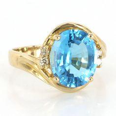 Estate 14 Karat Yellow Gold Swiss Blue Topaz Diamond Cocktail Ring Fine Jewelry $499