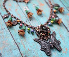 July Challenge for B'sue Boutiques by Renee Hong: Boho Butterfly Garden Necklace Earring Set by JewelryFineAndDandy