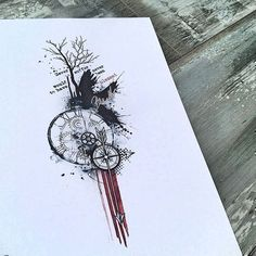 Abstract trash polka clock compass raven and tree tattoo designwww.skinque.com