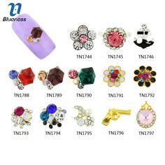 Blueness 10pcs 3D Nail Art Alloy Multi Color Crystal Rhinestone Charms  Manicure 8e7a82805bc0