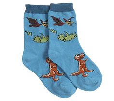 Divertidos calcetines de color azul con dibujos de tiranosaurio rex y pteranodon. El complemento ideal para sus deportivas de dinosaurios!  Material: 75% algodón, 10% polyester, 10% nylon y 5% spandex. Tallas: 19-22 / 23-28 / 29-34  Marca: Nature Planet Ref. 30115 Precio: 4.50 € IVA incluido