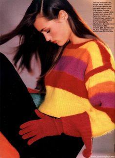 """Brights!"", Glamour US, November 1987  Photographer : Mike Reinhardt  Model : Yasmin Le Bon Uploaded by 80s-90s-supermodels.tumblr.com"