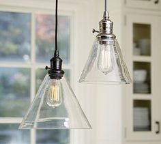 PB Classic Pendant - Flared Glass #potterybarn Love this for over the buffet in the great room - very warm lighting.