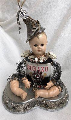 Altered Art Doll Boraxo Tin Mix Media #72