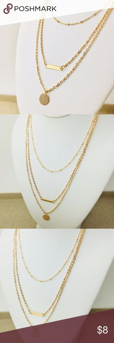 """3 Layer Chain Necklace w/ Circle & Bar Pendant Stunning Must Have Gold Multi Layer Necklace with Circle and Bar pendants.  Perfect Accessory for your Sheek and Stylish Look or to Accent some Color to any light Top.  Get the Stylish Look without breaking the bank.  Add this necklace to your jewelry collection today.   Necklace Length: 11.5"""" Adjustable Gold Color Metal Chain made of Alloy with closure. Jewelry Necklaces"""