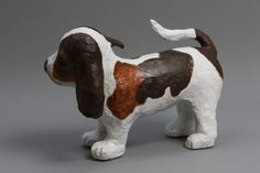 sculpture papier mache of a beagle puppy Beagle Art, Beagle Puppy, Cute Beagles, Cute Puppies, Paper Mache Sculpture, Rock Art, Piggy Bank, Videos, Garden