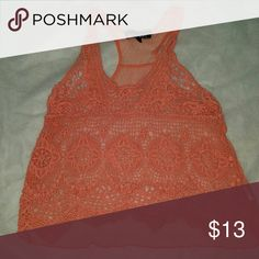 Lace tank top Salmon color lace tank top Almost Famous Tops Tank Tops
