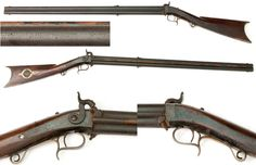 """Michigan Swivel Breech - 1860s Over Under Percussion Rifle - This heavy swivel breech rifle weighs around 11 lbs. and the barrels are made of cast steel and are .38 caliber. The lock is stamped """"E.S. SWEET"""" and on top of both of the barrels the firm markings say """"E. S. SWEET/ J. ALLEN CAST STEEL / KALAMAZOO"""" (Michigan). More specifically Ezra S. Sweet & James Allen, (E S S & J A, ) gunsmiths, 13 N Burdick, 2d floor,"""