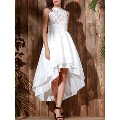 Noble Sleeveless Layered Asymmetric White Maxi Dress For Women, WHITE, S in Dresses 2017 | DressLily.com