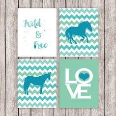 Horse Printable Art Set Equestrian Horses Art Print Wild and Free LOVE Blue Green Wall Art, 8 x 10 Instant Download