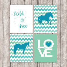 Horse Printable Art Set Equestrian Horses Art Print Wild and Free LOVE Blue Green Wall Art, 8 x 10 Instant Download