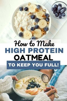 Healthy low calorie and high volume protein oatmeal to keep you feeling full. These proats are made with egg whites and whey protein powder for a high prot Protein Powder Recipes, High Protein Recipes, Protein Foods, Low Calorie Recipes, Whey Protein, High Protein Meal Prep, Thm Recipes, Potato Recipes, High Protein Breakfast