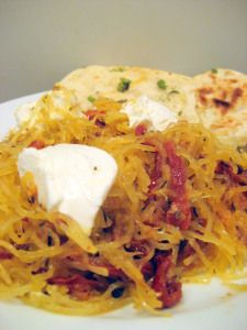 Roasted Spaghetti Squash with Tomatoes and Goat Cheese