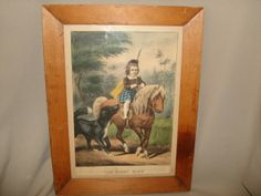 """Antique Original Currier & Ives """"THE FIRST RIDE"""" Lithograph Print, Scottish Boy on Horse"""