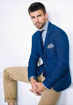 H.E. by Mango - denim blazer, navy tie with embroidered duck pattern, blue striped spread collar shirt, khaki chinos,