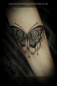 Lace tattoo, Butterfly tattoo,