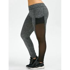 Discount Plus Size Mesh Workout Leggings With Pockets On Sale / Gray