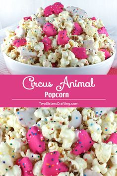 Kids and adults alike will love this Circus Animal Popcorn - sweet and salty popcorn that is chock full of yummy Circus Animal Cookies. A great popcorn treat that is so easy to make! Sweet Popcorn, Popcorn Snacks, Gourmet Popcorn, Popcorn Recipes, Candy Recipes, Holiday Recipes, Snack Recipes, Dessert Recipes, Pop Popcorn