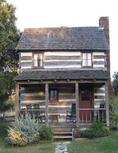 Two story cabin with a front porch? On a heartbeat! Two story cabin with a front porch? On a heartbeat! Log Cabin Living, Log Cabin Homes, Old Cabins, Cabins And Cottages, Little Cabin, Little Houses, Tiny House, Cottage House, Cabin In The Woods