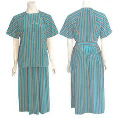 Vintage  Halston 1980s Skirt & Top Outfit Dress Suit Stripes  #Halston