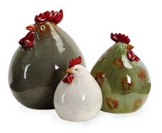 """Cottage Chic Set of 3 Colorful Ceramic """"Stylized"""" Chickens"""