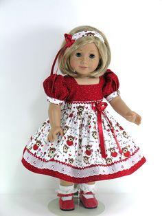 Handmade Clothes for American Girl Doll - Dress, Headband, Pantaloons - Bear Hugs, Hearts - Exclusively Linda Doll Clothes