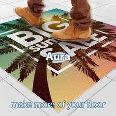 Introducing Aura - a new way to get noticed! 👀 This high-resolution printed floor vinyl is able to deliver any advertising message right at the point of sale.  #kleentex #makemoreofyourfloor #aura