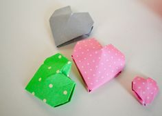 Origami Hearts | darned ideas Origami Hearts, Cake Toppers, Cards, Ideas, Origami Heart, Maps, Thoughts, Playing Cards