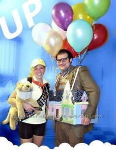 The Up House with Carl Fredricksen, Russell, and Doug ♥ 2012 Halloween Costume Contest Last Minute Couples Costumes, Best Couples Costumes, Unique Costumes, Creative Halloween Costumes, Diy Costumes, Costume Ideas, Couple Costumes, Halloween Ideas, Halloween 2014