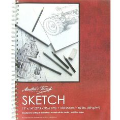"""Master's Touch 11"""" x 14"""" Spiral Sketch Pad (950 INR) ❤ liked on Polyvore featuring home, home decor, stationery, fillers, fillers - red, art, books and misc"""
