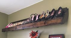 Rustic Style Floating Shoe Rack - Custom Sizes & Finish - Hand Made to Order. Hardware Incl. by GnHWoodCrafters on Etsy