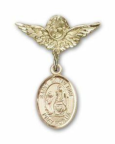 Gold Filled Baby Badge with St. Catherine of Siena Charm and Angel w/Wings Badge Pin Bliss,http://www.amazon.com/dp/B005EHTLLS/ref=cm_sw_r_pi_dp_4d6Nsb0RN7FHD3X9