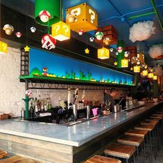 Mario-Themed Bar Just Opened And It's Every Geek's Dream Come True Super Mario fans, rejoice! A new bar just opened in Washington D. and it's awesome. Bar Geek, Deco Gamer, Game Cafe, Arcade Room, Basement Bar Designs, Video Game Rooms, Video Game Bar, Video Game Decor, Game Room Design