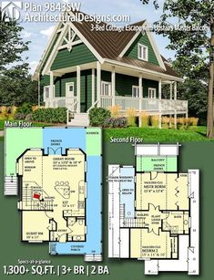 Architectural Designs House Plan 9843SW | 3 Beds | 2 Baths | 1,300+ Sq.Ft.  | Ready When You Are! Where Do YOU Want To Build?