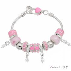 Armband Charms & Beads Rosa  KLEEBLATT  im Organza Beutel