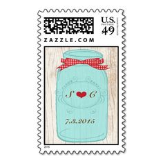 Red Gingham and Mint Mason Jar Wedding Stamp