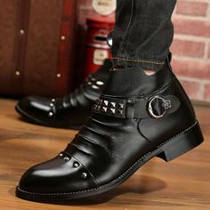Belt 2016 Harajuku Spike Wax Mens Winter Chukka Military Boots Individuality Cowhide Trendy Zip Winkle Picker Booties Bandage