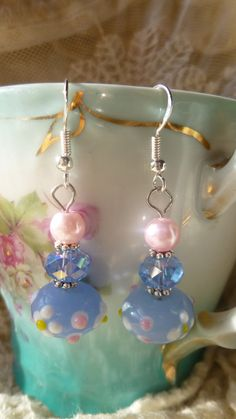 Blue Floral Crystal Beaded Earrings Pink by RomanticallyVintage, $19.50