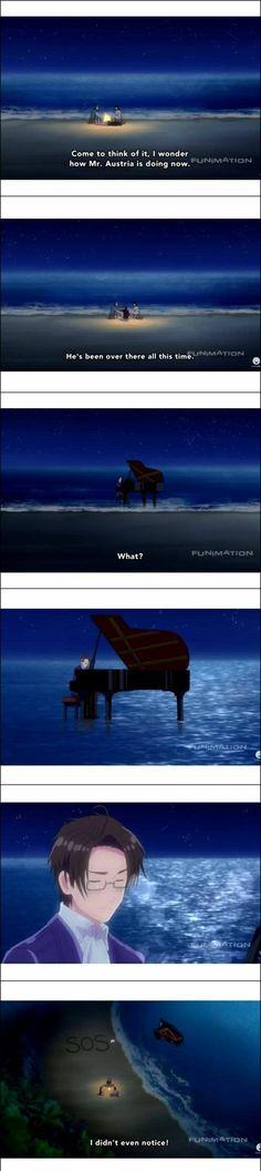 Japan, Italy, Germany, Austria, Axis Powers, funny, text, comic, quote, stranded, island, playing, piano, SOS; Hetalia